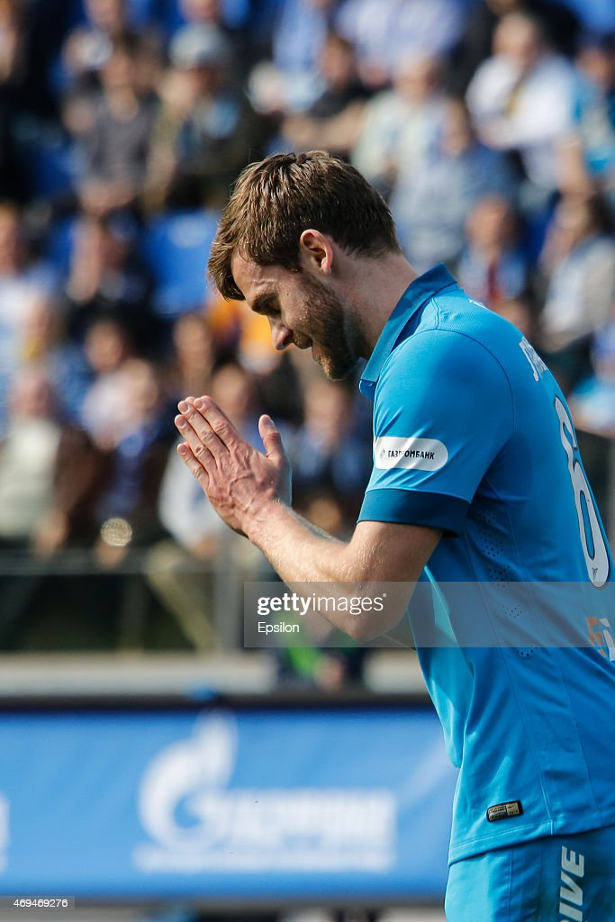 <a gi-track='captionPersonalityLinkClicked' href=/galleries/search?phrase=Nicolas+Lombaerts&family=editorial&specificpeople=4332055 ng-click='$event.stopPropagation()'>Nicolas Lombaerts</a> of FC Zenit St. Petersburg gestures during the Russian Football League match between FC Zenit St. Petersburg and FC Rubin Kazan at the Petrovsky stadium on April 12, 2015 in St. Petersburg, Russia.