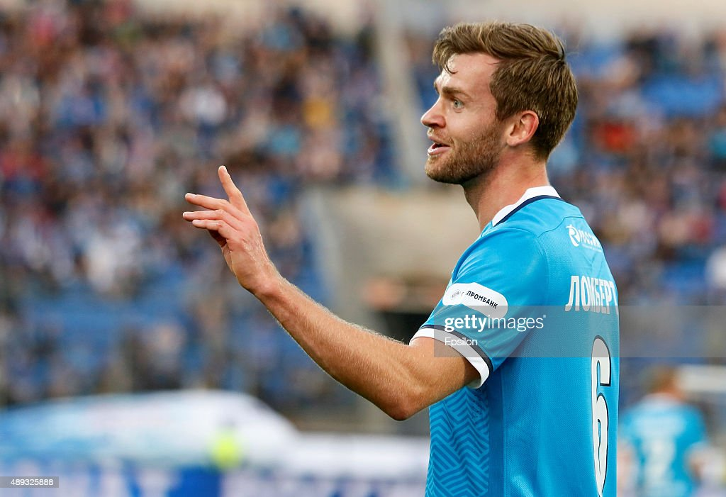 <a gi-track='captionPersonalityLinkClicked' href=/galleries/search?phrase=Nicolas+Lombaerts&family=editorial&specificpeople=4332055 ng-click='$event.stopPropagation()'>Nicolas Lombaerts</a> of FC Zenit St. Petersburg gestures during the Russian Football Premier League match between FC Zenit St. Petersburg and FC Amkar Perm at the Petrovsky stadium on September 20, 2015 in St. Petersburg, Russia.