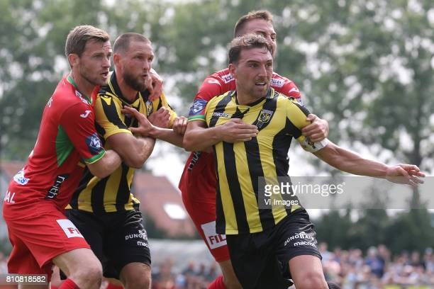 Nicolas Lombaerts of KV Oostende Tim Matavz of Vitesse Guram Kashia of Vitesse during the friendly match between Vitesse Arnhem and KV Oostende at...