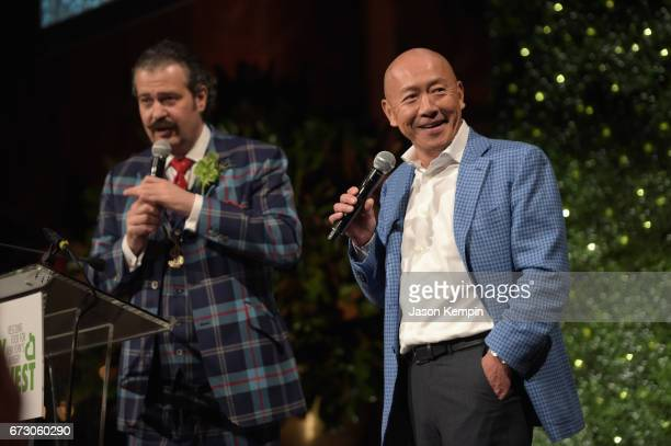 Nicolas Lowry and chef Masa Takayama speak onstage at the City Harvest's 23rd Annual Evening Of Practical Magic at Cipriani 42nd Street on April 25...