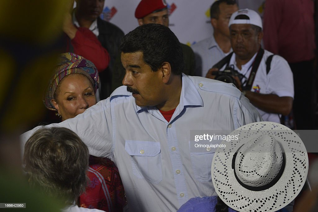 Nicolas Maduro, candidate of PSUV greets after vote on April 14, 2013 in Caracas, Venezuela.