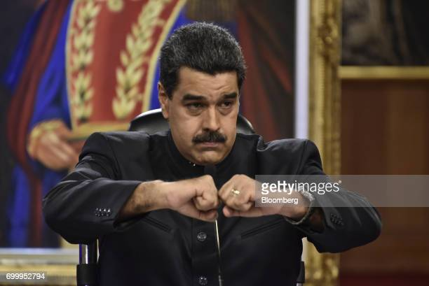 Nicolas Maduro president of Venezuela gestures during a press conference in Caracas Venezuela on Thursday June 22 2017 Since June 15 Maduro has named...