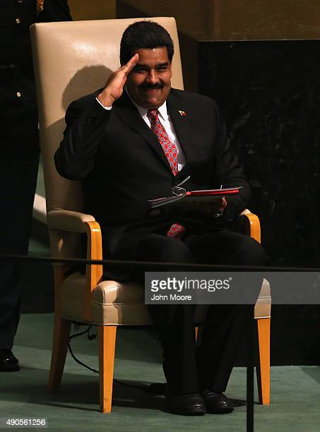 Nicolas Maduro President of Venezuela salutes he United Nations General Assembly after his address at the UN headquarters on September 29 2015 in New...