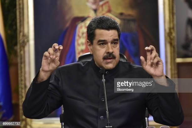Nicolas Maduro president of Venezuela speaks during a press conference in Caracas Venezuela on Thursday June 22 2017 Since June 15 Maduro has named...