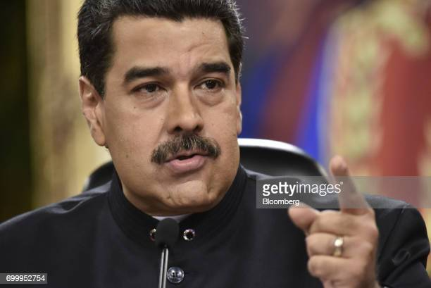 Nicolas Maduro president of Venezuela speaks during a press conference in Caracas Venezuela on Thursday June 22 2017 Since June 15 Maduro has named...