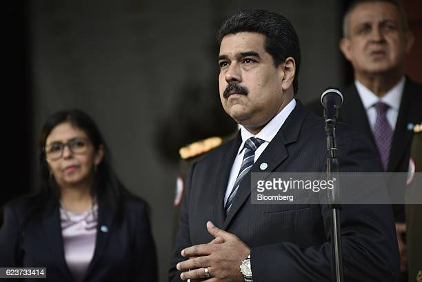Nicolas Maduro Venezuela's president center looks on after a meeting with Mohammed Barkindo secretary general of the Organization of Petroleum...