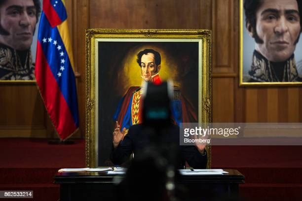Nicolas Maduro Venezuela's president gestures while speaking during a press conference at the Miraflores Palace in Caracas Venezuela on Tuesday Oct...