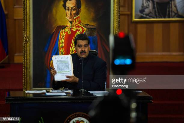 Nicolas Maduro Venezuela's president holds the agreement with the opposition for the nation wide gubernatorial election during a press conference at...