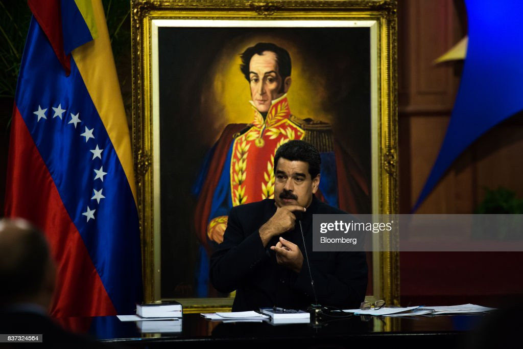 Nicolas Maduro, Venezuela's president, pauses while speaking during a news conference in Caracas, Venezuela, on Tuesday, Aug. 22, 2017. Maduro said Venezuela's authoritarian regime is prepared for additional retaliation from the U.S., one of the crisis-torn nation's principal trade partners, including wide-reaching sanctions on its beleaguered economy and oil industry. Photographer: Wil Riera/Bloomberg via Getty Images
