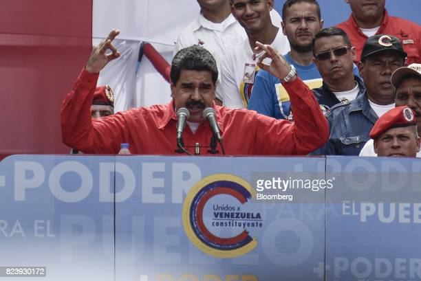 Nicolas Maduro Venezuela's president speaks during a progovernment rally in Caracas Venezuela on Thursday July 27 2017 True to his threat Maduro will...