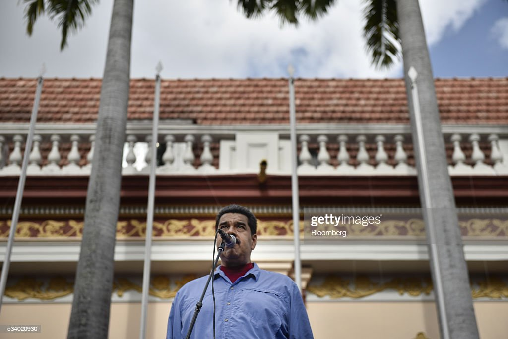 <a gi-track='captionPersonalityLinkClicked' href=/galleries/search?phrase=Nicolas+Maduro&family=editorial&specificpeople=767093 ng-click='$event.stopPropagation()'>Nicolas Maduro</a>, Venezuela's president, speaks during a rally for women and peace at the Miraflores Palace in Caracas, Venezuela on Tuesday, May 24, 2016. On Tuesday, hundreds of women took to the streets in a show of support for President Maduro and against what they called the violent demonstrations by the opposition. Photographer: Carlos Becerra/Bloomberg via Getty Images