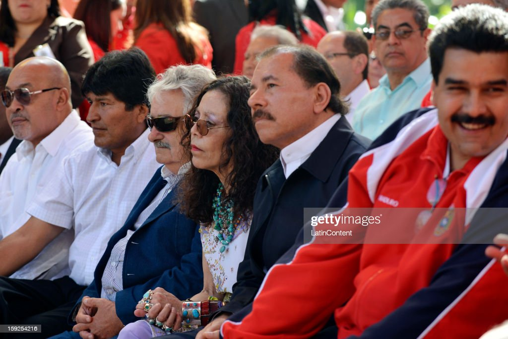 Nicolas Maduro, Vice President of Venezuela, Daniel Ortega -President of Nicaragua-, <a gi-track='captionPersonalityLinkClicked' href=/galleries/search?phrase=Jose+Mujica&family=editorial&specificpeople=637688 ng-click='$event.stopPropagation()'>Jose Mujica</a> -President of Uruguay- and <a gi-track='captionPersonalityLinkClicked' href=/galleries/search?phrase=Evo+Morales&family=editorial&specificpeople=272981 ng-click='$event.stopPropagation()'>Evo Morales</a> -President of Bolviia- during meeting to support Hugo Chavez at Miraflores Presidential Palace on January 10, 2013 in Caracas, Venzuela. Chavez is now hospitalized in Cuba due to a cancer. Meanwhile, his followers back him up in the day a new presidential term is inaugurated without him. People make their way to Miraflores Presidential Palace to witness a symbolic swearing-in.