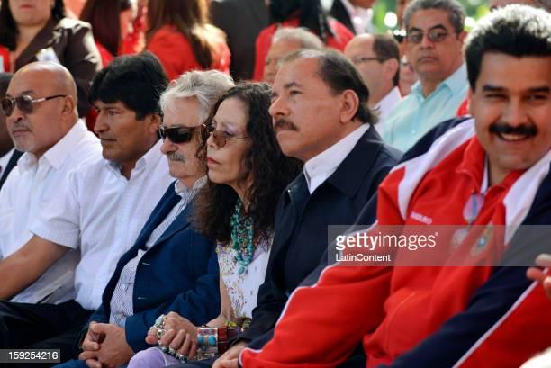Nicolas Maduro Vice President of Venezuela Daniel Ortega President of Nicaragua Jose Mujica President of Uruguay and Evo Morales President of Bolviia...