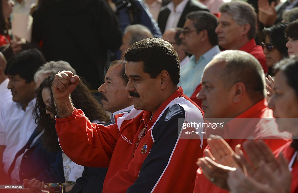 Nicolas Maduro, Vice President of Venezuela greets the people near Miraflores Presidential Palace on January 10, 2013 in Caracas, Venzuela. Chavez is now hospitalized in Cuba due to a cancer. Meanwhile, his followers back him up in the day a new presidential term is inaugurated without him. People make their way to Miraflores Presidential Palace to witness a symbolic swearing-in.