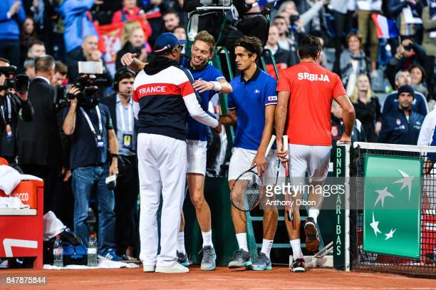 Nicolas Mahut and Pierre Hugues Herbert of France celebrates with Yannick Noah coach of France during the day 2 of the Semifinals of the Davis Cup...