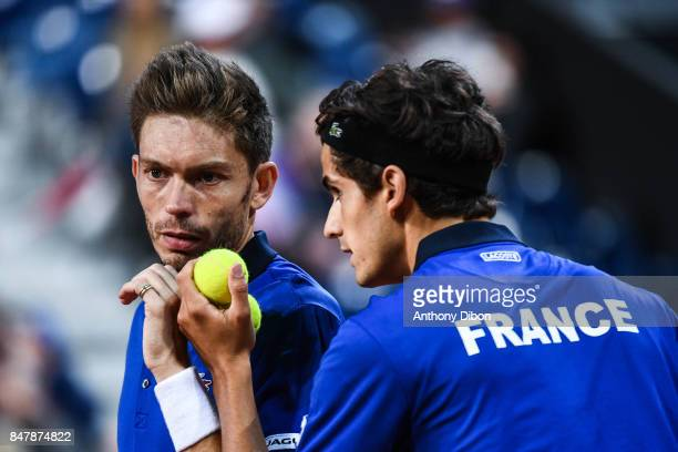 Nicolas Mahut and Pierre Hugues Herbert of France during the day 2 of the Semifinals of the Davis Cup between France and Serbia at Stade Pierre...