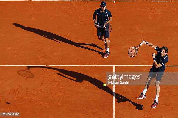 Nicolas Mahut and PierreHugues Herbert of France in actio during the semi final match against Juan Sebastian Cabal and Robert Farah of Colombia on...