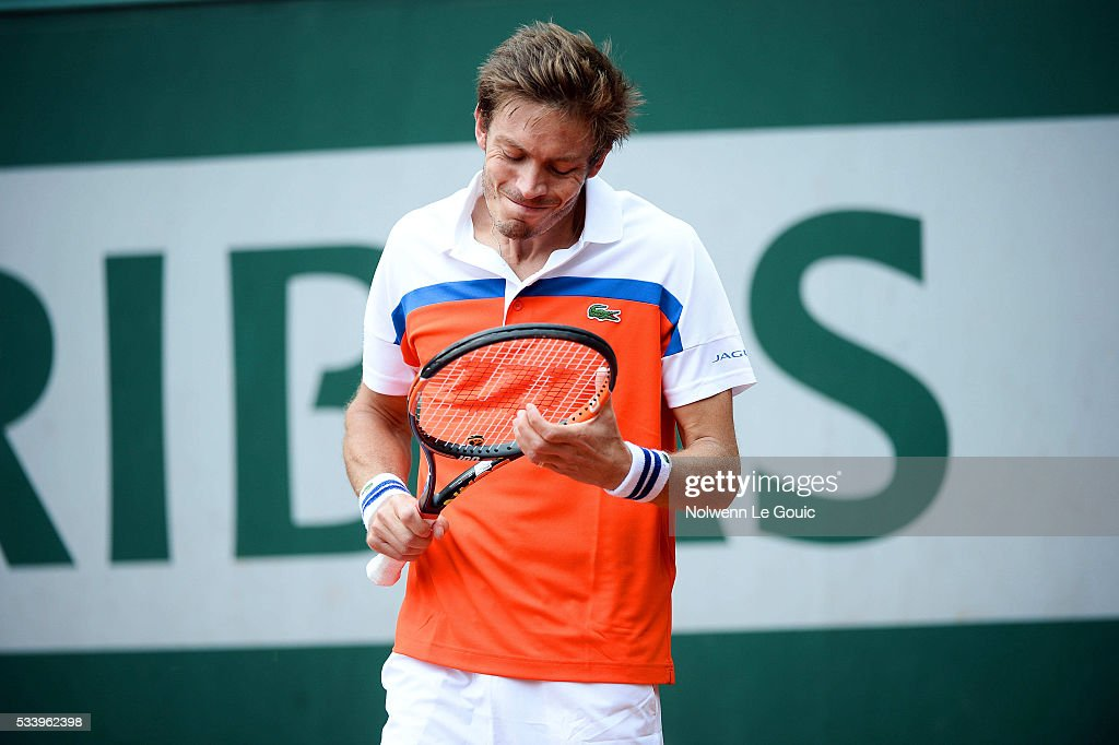 Nicolas Mahut during the Men's Singles first round on day three of the French Open 2016 at Roland Garros on May 24, 2016 in Paris, France.