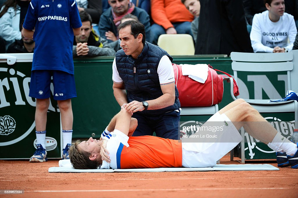 Nicolas Mahut injured during the Men's Singles first round on day three of the French Open 2016 at Roland Garros on May 24, 2016 in Paris, France.