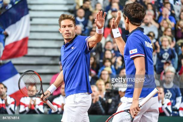 Nicolas Mahut of France and Pierre Hugues Herbert during the day 2 of the Semifinals of the Davis Cup between France and Serbia at Stade Pierre...