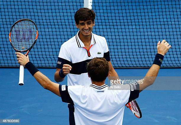 Nicolas Mahut of France and PierreHugues Herbert of France celebrate defeating Dominic Inglot of Great Britain and Robert Lindstedt of Sweden during...