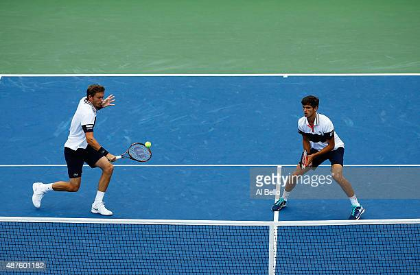 Nicolas Mahut of France and PierreHugues Herbert of France play against Dominic Inglot of Great Britain and Robert Lindstedt of Sweden during their...