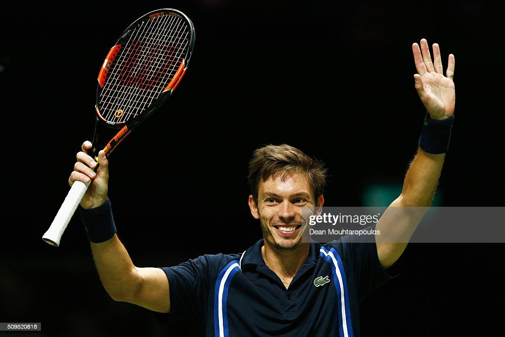 <a gi-track='captionPersonalityLinkClicked' href=/galleries/search?phrase=Nicolas+Mahut&family=editorial&specificpeople=547869 ng-click='$event.stopPropagation()'>Nicolas Mahut</a> of France celebrates vicorty against Jeremy Chardy of France during day 4 of the ABN AMRO World Tennis Tournament held at Ahoy Rotterdam on February 11, 2016 in Rotterdam, Netherlands.