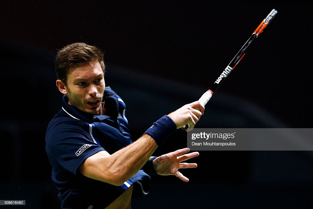 <a gi-track='captionPersonalityLinkClicked' href=/galleries/search?phrase=Nicolas+Mahut&family=editorial&specificpeople=547869 ng-click='$event.stopPropagation()'>Nicolas Mahut</a> of France in action against Jeremy Chardy of France during day 4 of the ABN AMRO World Tennis Tournament held at Ahoy Rotterdam on February 11, 2016 in Rotterdam, Netherlands.
