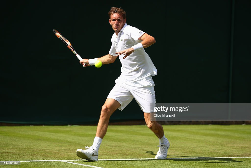 <a gi-track='captionPersonalityLinkClicked' href=/galleries/search?phrase=Nicolas+Mahut&family=editorial&specificpeople=547869 ng-click='$event.stopPropagation()'>Nicolas Mahut</a> of France plays a forehand shot during the Men's Singles first round match against Brydan Klein of Great Britain on day one of the Wimbledon Lawn Tennis Championships at the All England Lawn Tennis and Croquet Club on June 27th, 2016 in London, England.