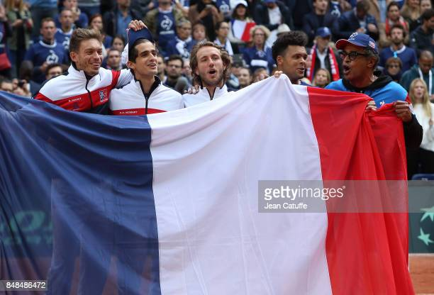 Nicolas Mahut PierreHugues Herbert Lucas Pouille JoWilfried Tsonga and Captain of France Yannick Noah celebrate winning the tie on day three of the...