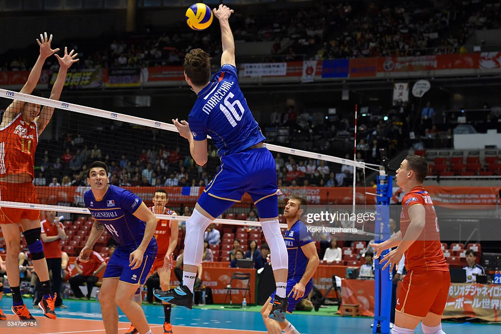 Nicolas Marechal #16 of France spikes the ball during the Men's World Olympic Qualification game between China and France at Tokyo Metropolitan Gymnasium on May 28, 2016 in Tokyo, Japan.
