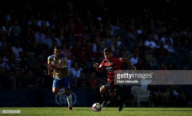 Nicolas Martinez of the Wanderers in action during the round 16 ALeague match between the Western Sydney Wanderers and the Newcastle Jets at...