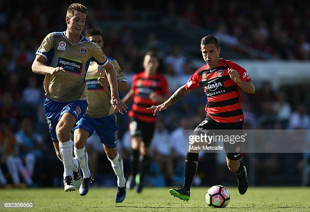 Nicolas Martinez of the Wanderers is challenged by Lachlan Jackson of the Jets during the round 16 ALeague match between the Western Sydney Wanderers...