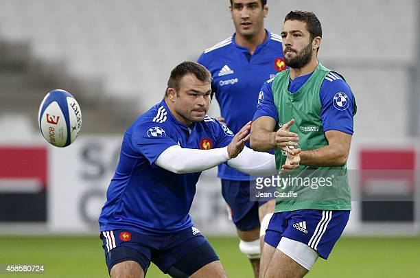 Nicolas Mas and Remi Tales of France in action during the France captain's run on the eve of the international friendly match between France and Fiji...