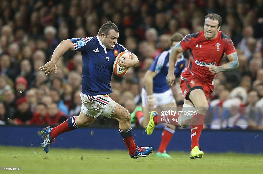 Nicolas Mas of France breaks with the ball during the RBS Six Nations match between Wales and France at the Millennium Stadium on February 21, 2014 in Cardiff, Wales.
