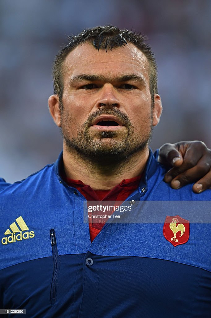 <a gi-track='captionPersonalityLinkClicked' href=/galleries/search?phrase=Nicolas+Mas&family=editorial&specificpeople=598314 ng-click='$event.stopPropagation()'>Nicolas Mas</a> of France lines up for the national anthems during the QBE International match between England and France at Twickenham Stadium on August 15, 2015 in London, England.