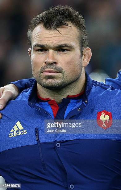 Nicolas Mas of France looks on during National Anthems ahead of the friendly match between France and Fiji on November 8 2014 at Stade Velodrome in...