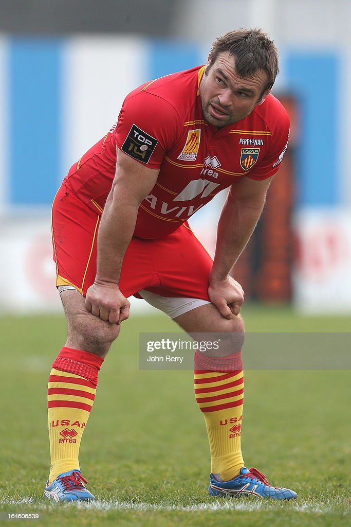<a gi-track='captionPersonalityLinkClicked' href=/galleries/search?phrase=Nicolas+Mas&family=editorial&specificpeople=598314 ng-click='$event.stopPropagation()'>Nicolas Mas</a> of Perpignan in action during the French rugby league match (Top 14) between Racing Metro 92 and USA Perpignan USAP at the Stade Yves du Manoir on March 23, 2013 in Colombes near Paris, France.