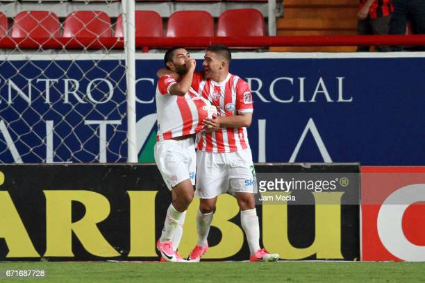 Nicolas Maturana of Necaxa celebrates after scoring his team's winning goal during the 15th round match between Necaxa and Morelia as part of the...