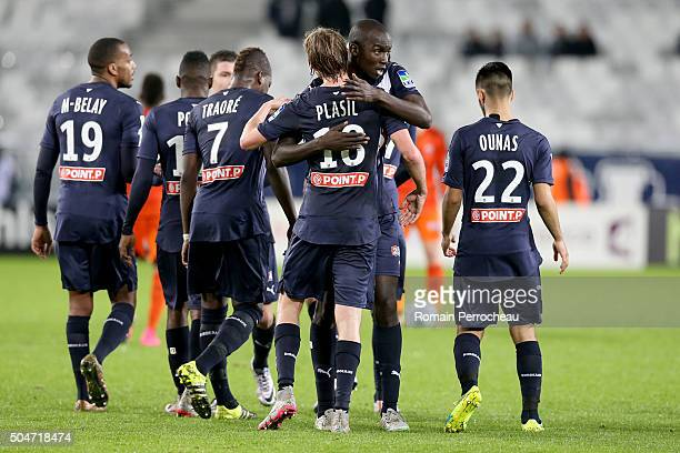 Nicolas MauriceBelay Andre Biyogo Poko Abdou Traore Cedric Yambere and Adam Ounas celebrate the goal of Jaroslav Plasil during the French League Cup...