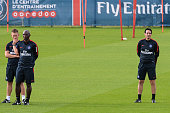 Nicolas Mayer Zoumana Camara and Unai Emery during Paris Saint Germain First Training Session on July 4 2016 in Camp des Loges SaintGermainenLaye...