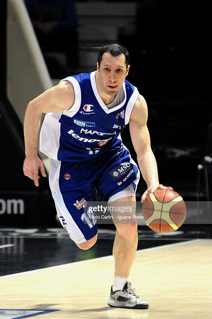 Nicolas Mazzarino of Lenovo in action during the LegaBasket A1 basketball match between Oknoplast Bologna and Lenovo Cantu at Unipol Arena on May 5, 2013 in Bologna, Italy.