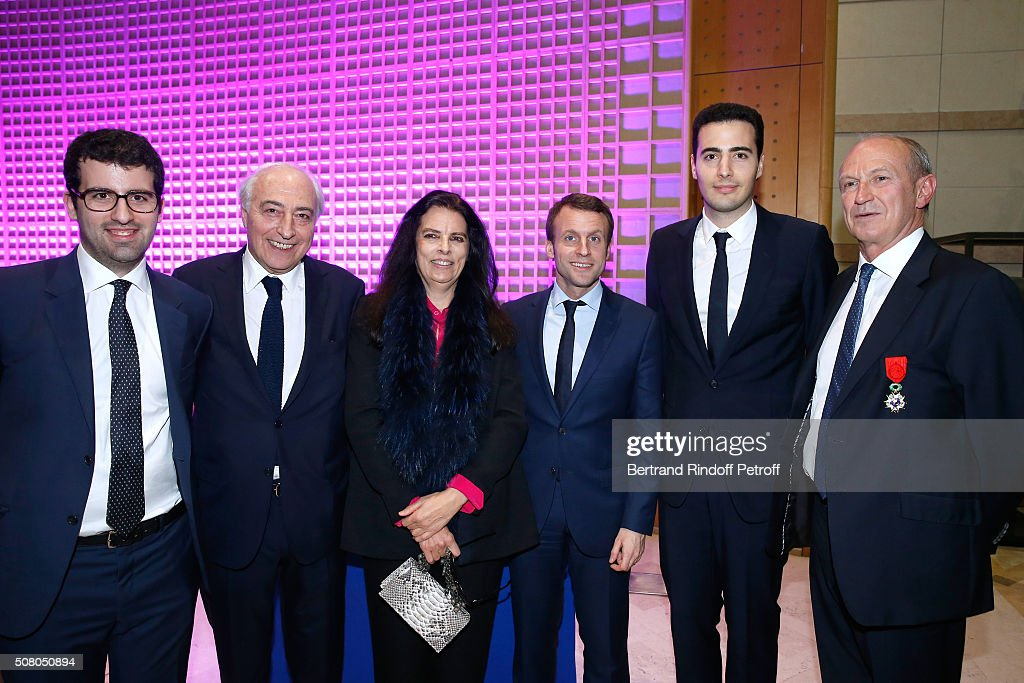Nicolas Meyers, Jean-Pierre Meyers, his wife <a gi-track='captionPersonalityLinkClicked' href=/galleries/search?phrase=Francoise+Bettencourt+Meyers&family=editorial&specificpeople=5641438 ng-click='$event.stopPropagation()'>Francoise Bettencourt Meyers</a>, Ministry of Economy, Industry and Digital <a gi-track='captionPersonalityLinkClicked' href=/galleries/search?phrase=Emmanuel+Macron&family=editorial&specificpeople=9899223 ng-click='$event.stopPropagation()'>Emmanuel Macron</a>, Jean-Victor Meyers and <a gi-track='captionPersonalityLinkClicked' href=/galleries/search?phrase=Jean-Paul+Agon&family=editorial&specificpeople=675160 ng-click='$event.stopPropagation()'>Jean-Paul Agon</a> attend President of l'Oreal <a gi-track='captionPersonalityLinkClicked' href=/galleries/search?phrase=Jean-Paul+Agon&family=editorial&specificpeople=675160 ng-click='$event.stopPropagation()'>Jean-Paul Agon</a> receives Insignia of Officer of the Legion of Honor at 'Ministere de l'Economie, de l'Industrie et du Numerique' on February 2, 2016 in Paris, France.