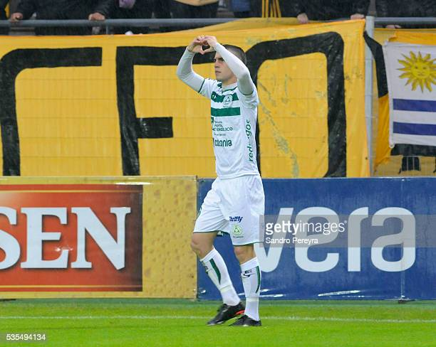 Nicolas Milesi of Plaza Colonia celebrates after scoring the first goal during a match between Penarol and Plaza Colonia as part of Campeonato...