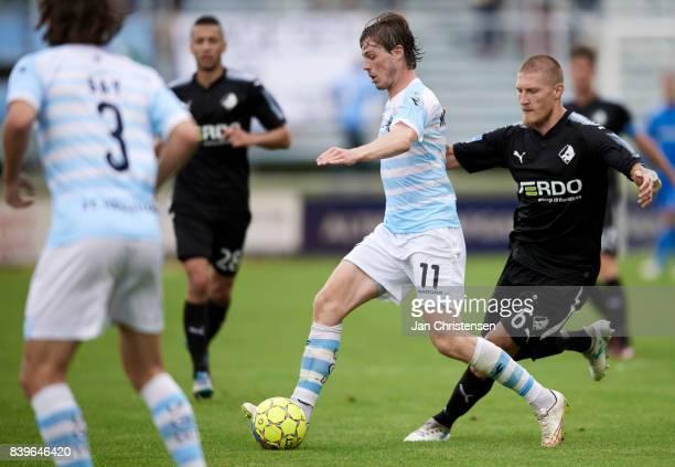Nicolas Mortensen of FC Helsingor controls the ball during the Danish Alka Superliga match between FC Helsingor and Randers FC at Helsingor Stadion...
