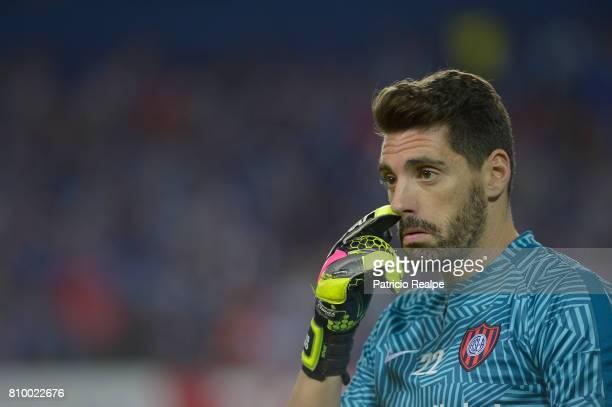 Nicolas Navarro of San Lorenzo gestures during a first leg match between Emelec and San Lorenzo as part of round of 16 of Copa CONMEBOL Libertadores...