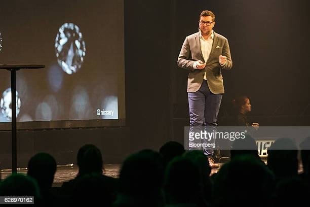 Nicolas 'Nic' Cary chief executive officer of Blockchain Luxembourg SA speaks on stage during the Slush startups event in Helsinki Finland on...