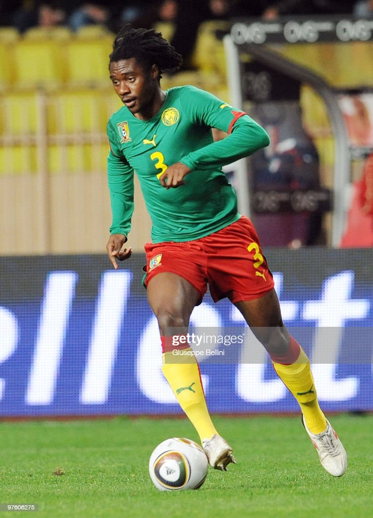 <a gi-track='captionPersonalityLinkClicked' href=/galleries/search?phrase=Nicolas+Nkoulou&family=editorial&specificpeople=5398235 ng-click='$event.stopPropagation()'>Nicolas Nkoulou</a> of Cameroon in action during the International Friendly match between Italy and Cameroon at Louis II Stadium on March 3, 2010 in Monaco, Monaco.