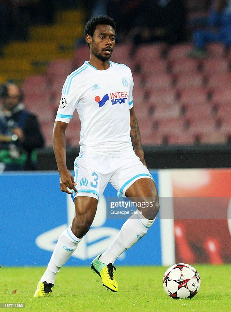 Nicolas N'Koulou of Olympique de Marseille in action during the UEFA Champions League Group F match between SSC Napoli and Olympique de Marseille at Stadio San Paolo on November 6, 2013 in Naples, Italy.