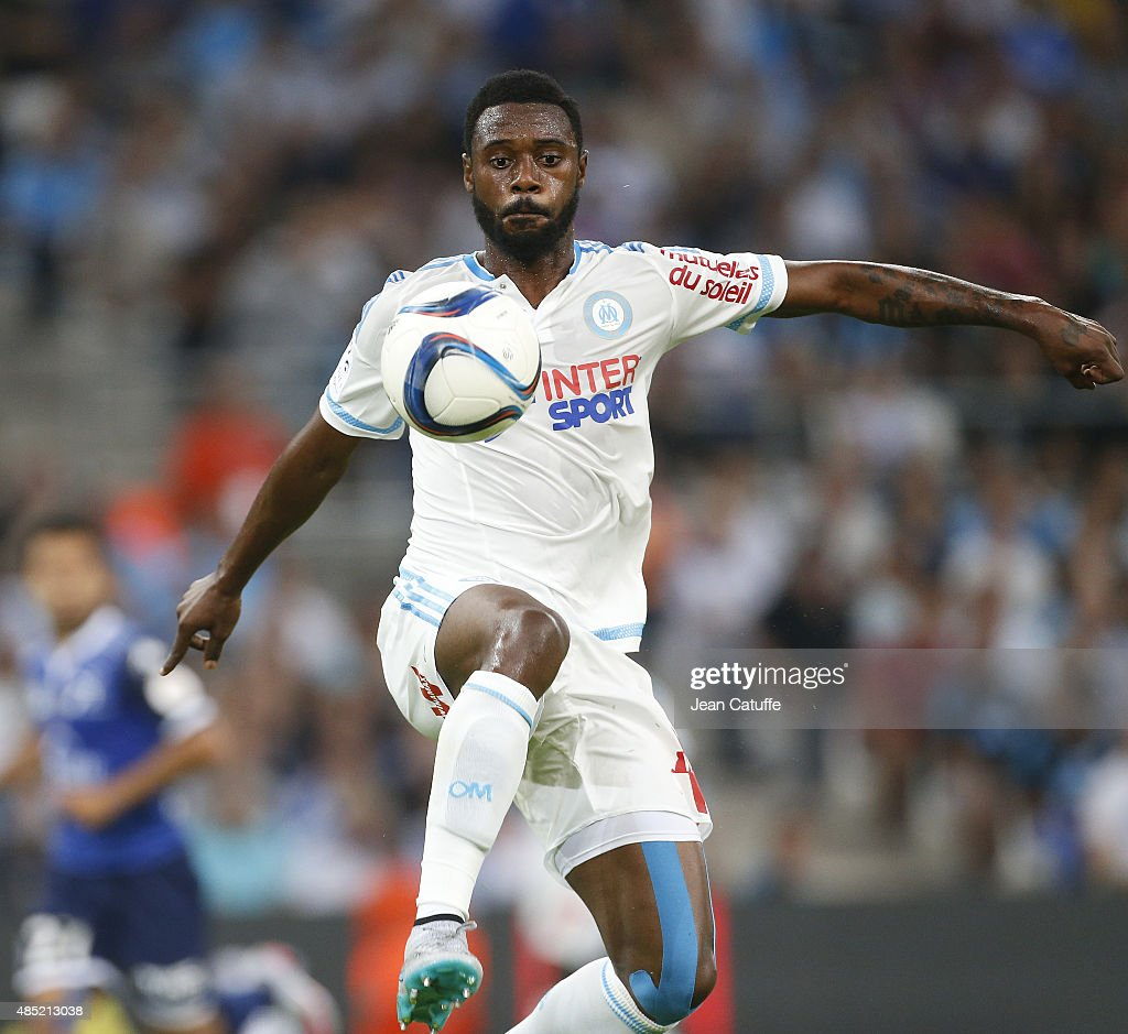 Nicolas N'Koulou of OM in action during the French Ligue 1 match between Olympique de Marseille (OM) and Troyes ESTAC at New Stade Velodrome on August 23, 2015 in Marseille, France.
